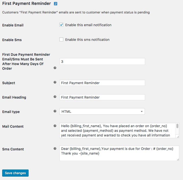First Payment Reminder Notifications Emails